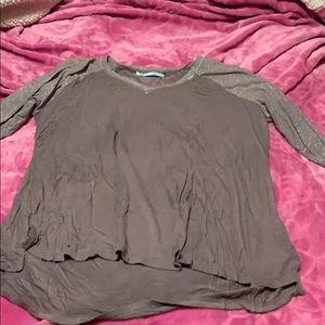 3/4 sleeve shimmery sleeve baseball shirt